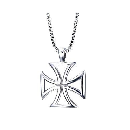 BOBIJOO JEWELRY - Große Anhänger mit der Halskette Kreuz Pattée der Templer, Durchbrochen, Stahl-Mann + Kette