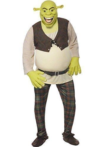 Herren Deluxe Shrek Disney Ogre Book Tag Halloween Kostüm Outfit