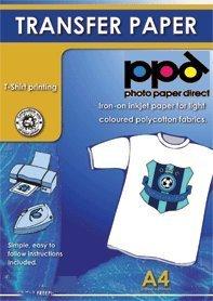 Preisvergleich Produktbild PPD Inkjet Transferpapier zum aufbügeln auf helle T-Shirts, DIN A4, 100 Blatt