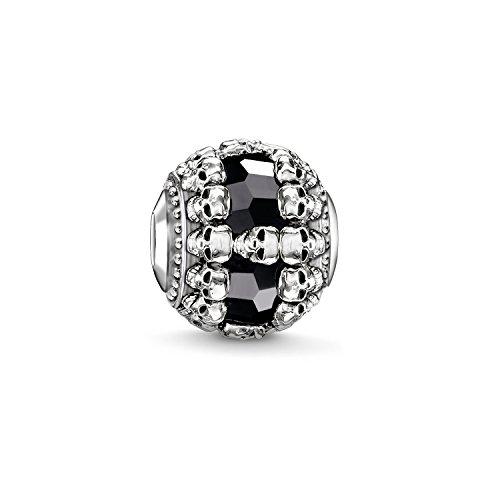 Thomas Sabo Damen Herren-Bead Totenkopf Karma Beads 925 Sterling Silber geschwärzt Onyx schwarz K0241-698-11 - Armband Herren Bead