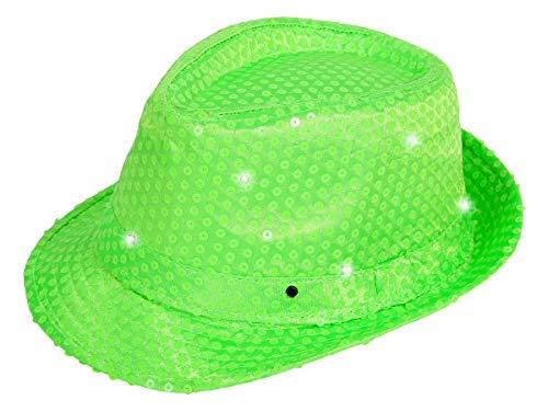 Alsino LED Clubstyle Partyhut Trilby Hut Blink Fedora Bogart Glitzerhut Glitter, Farbe wählen:TH-50 neon grün