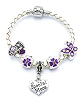 'The Purple Fairy' Special Niece Cream Leather Charm Bracelet for Girls Presented in High Quality Gift Pouch (17)