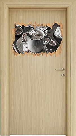 heisse Schokolade mit Zuckerstange B&W Detail Holzdurchbruch im 3D-Look , Wand- oder Türaufkleber Format: 62x42cm, Wandsticker, Wandtattoo, Wanddekoration