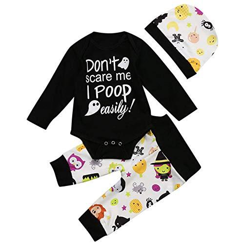 (Baby Jungen Mädchen Neugeborenen Langarm Brief Drucken Strampler Overall Kleidung Drucken Hosen Set mit Hut 3 Stück Outfits Halloween Kostüm Karneval Party von Innerternet)