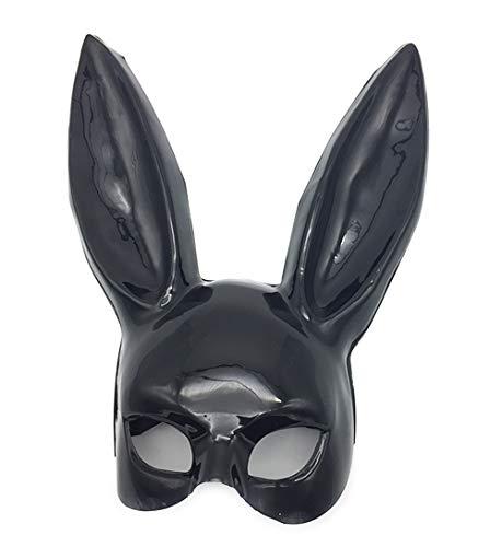 MX kingdom Kaninchen Eyemask mit Ohren Bunny Maske Frauen Black Masquerade Maske Halloween Party Kostüm Cosplay Dressing up Requisiten Ball Ostern Karneval - Bright schwarz