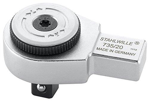 Stahlwille 58250020 Feinzahn-Einsteckknarre 735/20 für Drehmomentschlüssel mit 14 x 18 mm Aufnahme, Kleinster Arbeitswinkel von 6 Grad, 12, 5 mm, 1/2 Zoll-Vierkant, 60 Zähne