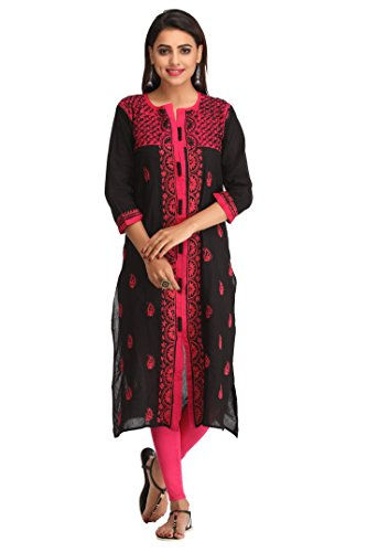 ADA Women's Cotton Lucknow Chikan Hand Embroidered Straight Kurta (L228599_Black_Large)