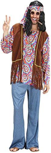 Widmann 75401 - Erwachsenenkostüm Psychedelic Hippie Mann, Hemd mit Weste, Hose, Stirnband und Kette, Größe (S Fancy 60 Dress Kostüme Herren)