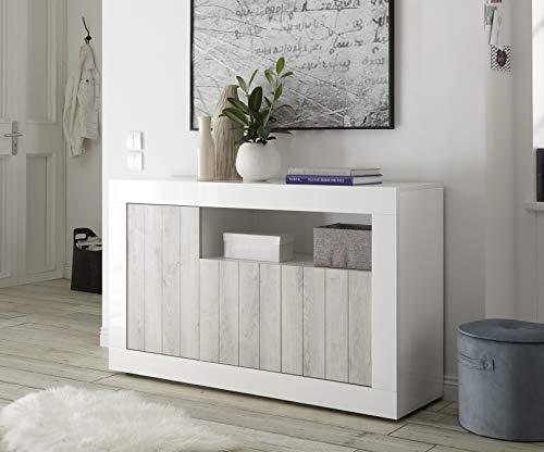 Mobile Contenitore 3 Ante Moderno Bianco Lucido Ante con Serigrafia Pino  Bianco Soggiorno Madia Buffet con sportelli Design URBE 13