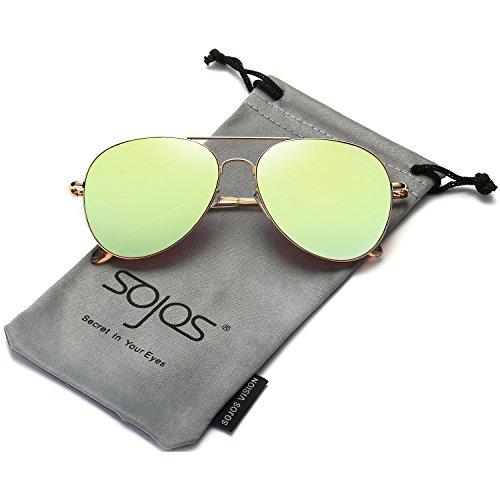 SOJOS Mode Flieger Metallrahmen Verspiegelt Linse Unisex Piloten Sonnenbrille mit Frühlings Scharnieren SJ1030 mit Gold Rahmen/Gelbgrün Linse