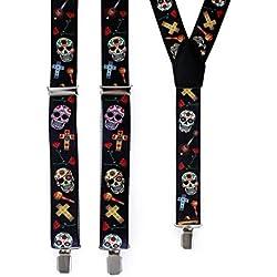 lively moments Tirantes Día de los Muertos con calaveras, cruces y muchos colores