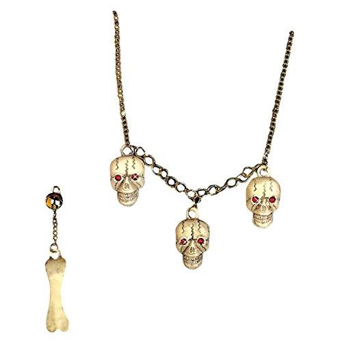Totenkopf Schmuck Skull Halskette und Ohrring Knochen Schmuckset Toten Schädel Kette Skelett Accessoires Halloween Kostüm (Schmuck Zubehör Halloween)