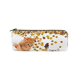 Ahomy – Astuccio per matite con cerniera, motivo: gatto che mangia cibo secco
