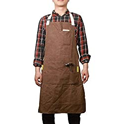 Hense Unisex Heavy Duty Waxed Canvas Workman Engineers Carpenter Apron With Waterproof Function, Soft and Ventilated Suit for Kitchen, Garden, Pottery, Craft Workshop, Garage