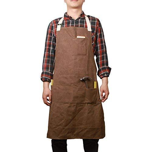 Mann Kostüm Bäcker - Hense Unisex Schwere Arbeitsschürze aus gewachstem Canvas mit wasserdichter Funktion, weich und belüftet für Küche, Garten, Keramik, Werkstatt, Garage und mehr (HSW-065)Kaffee