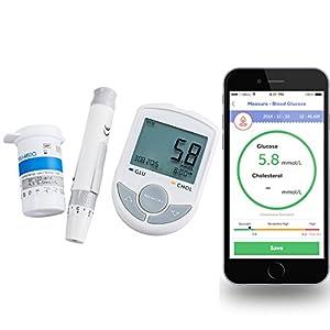 Enshey Blood Glucose & Cholesterin 2 in 1 Cholesterinsenker Test Monitor Bluetooth Mit App für IOS, Android + 50 Blutzucker-Teststreifen + 50 Twist Lanzetten