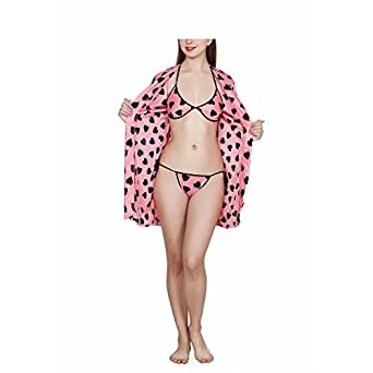 Fashion Xposed Women's Satin Heart Print Robe, Bra and Panty (FX-66SANAL ENT, Baby Pink, Free Size)- 3 Pieces