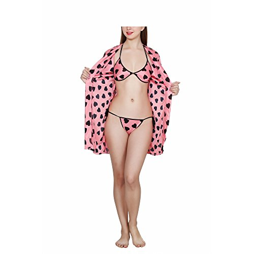 Fashion Xposed Baby Pink with Heart Print Robe,Bra & Panty_3pcs