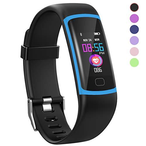 HuaWise Fitness-Tracker, Aktivitätstracker mit Herzfrequenz-Monitor und Schlaf-Monitor, (Bluetooth, wasserdicht, Schrittzähler und Kalorienzähler für Android und iOS (Herzfrequenz-armband Bluetooth)