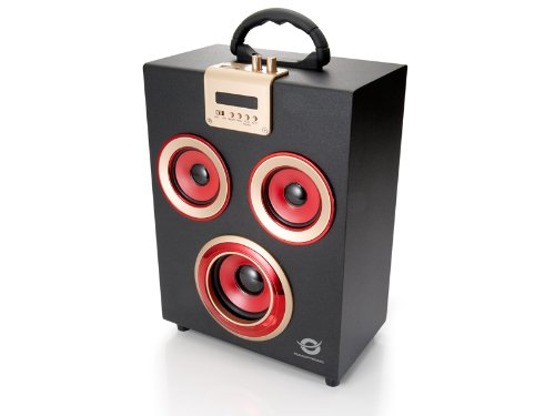 Conceptronic PCS71904CLLSPKPARTY - Altavoz (Bluetooth, USB, mando a distancia) color negro y rojo