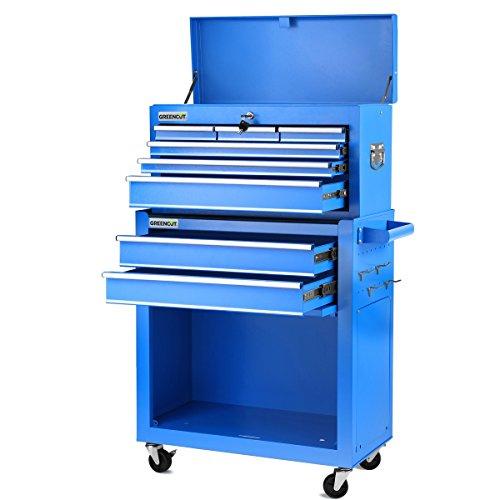 Greencut HEC1075A - Carro/armario para herramientas profesional con 4 ruedas con 10 cajones, azul