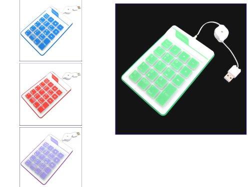 Kalea, Informatique Water Resistant Silikon USB numerische Tastatur, 19 Tasten, mit einziehbarem Kabel, Grün -