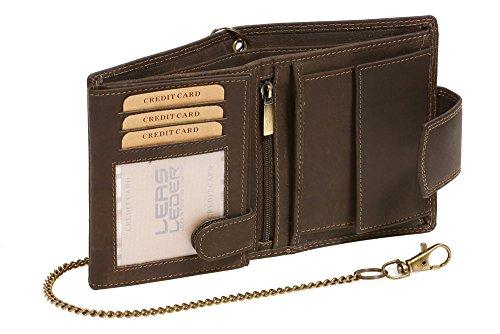Bikerkombibörse mit Außenverschluss Kette (mit Box) LEAS MCL Vintage in Echt-Leder, braun - ''LEAS Chain-Series'' (Ring-box-sicherheit)