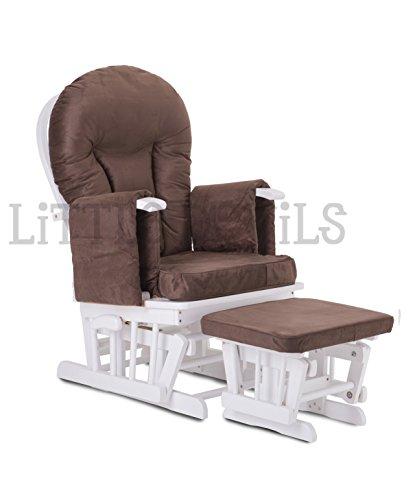 Weiß Holz–braun Farbe Supremo Bambino Stoff/Rocker/Umstands-/Füttern/Glider Stuhl (mit Arretierung und kostenlosem Fußhocker) (Baby-glider Mit Hocker)