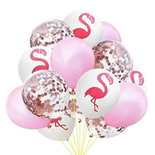 GE&YOBBY Konfetti Transparente Luftballons, Tropische Blätter Kaktus Flamingo Partyballons Mit Golden Paper Confetti Dots Stars for Party Decorations Wedding -b