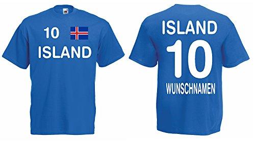 Island Trikot mit Wunschname und Wunschnummer EM 2016|blau-XXXL