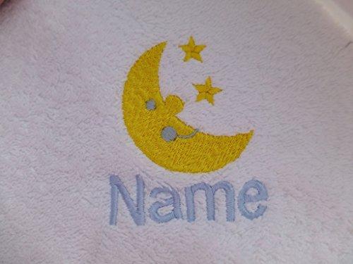 Weiß Baby Bademantel mit Kapuze oder weiß Kapuzentuch mit Ein Mond & Sterne Logo und Namen Ihrer Wahl., 100 % Terry-Baumwolle, weiß, Baby Robe 0-9 months (Logo Sterne)