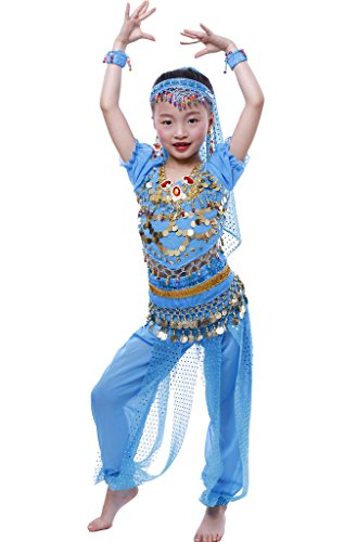 Kostüm Mädchen Dance Sailor - Astage Mädchen Short Sleeve Bauchtanz Kostüm Set Alle Ornamente Himmelblau S