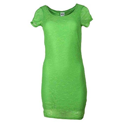 Vero Moda Damen Kleid Partykleid Spitzenkleid Kleid mit Spitze Mini Sommer HOLLY SS Short Dress Weiß Grün