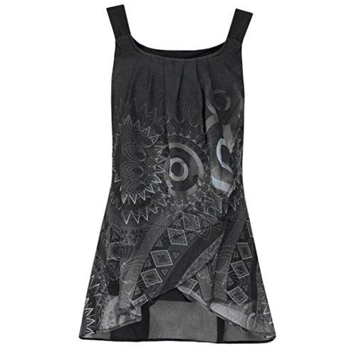 SEWORLD Damen Sommer Mode Drucken Drucken Shirt Ärmelloses O-Ausschnitt Batik Weste Camis Tank Tops Bluse Leibchen (Grau,EU-36/CN-S)