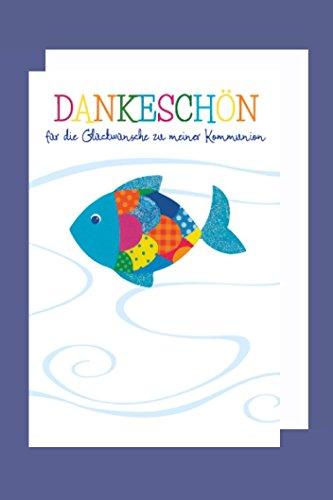 Kommunion Danksagung Karte 5er Set bunter Fisch Grußkarte B6