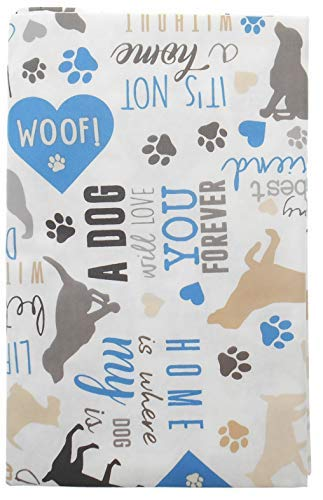 Vinyl-Tischdecke A Dog Will Love You Forever with Dogs Paws Heart and Other Spaying, Rückseite aus Flanell 52