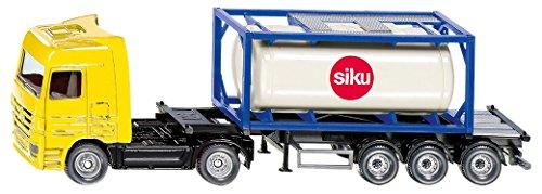 SIKU 1795, LKW mit Tankcontainer, 1:87, Metall/Kunststoff, Gelb/Blau, Abkoppelbarer Auflieger