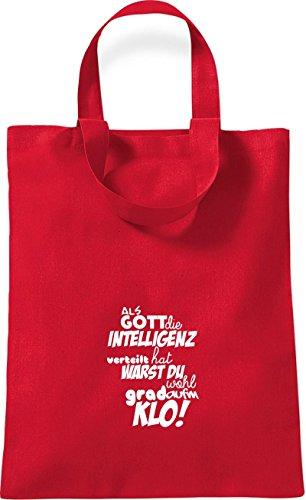 Piccola Borsa Di Cotone In Stile Camicia Come Dio Distribuisce Lintelligenza ... Klo! Colore Rosso Rosso