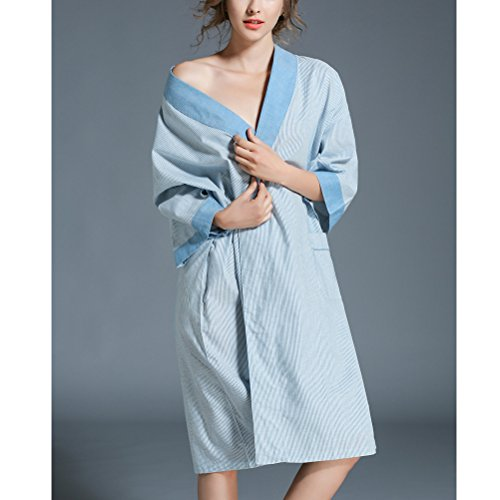 Zhhlaixing Unisex Plus Size Loose Nightgown Lovers Breathable Cotton Pajamas One Size Blue
