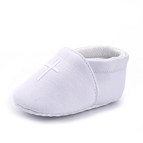 ESTAMICO Chaussure Premier Pas Garçon,Blanc Chaussures de Bébé Baptême 6-12 Mois