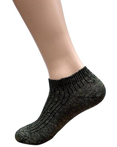 Hirsch Natur Longlife Sport Sneaker Socken, Wolle und Leinen (36/37, Schwarz meliert)