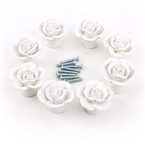 Aution House 8Piezas 30MM Cer᭩ca Pomo con Forma de Flores del Cristal Tirador de Anilla Cer᭩ca Tirador del Cajel Gabinete de la Puerta del Boton 4colores (BLANCO )