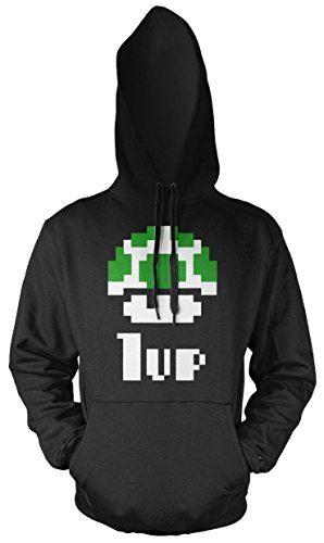 1 Up Retro Männer und Herren Kapuzenpullover   Mario Super Nintendo Geschenk   M1 (S, Schwarz)