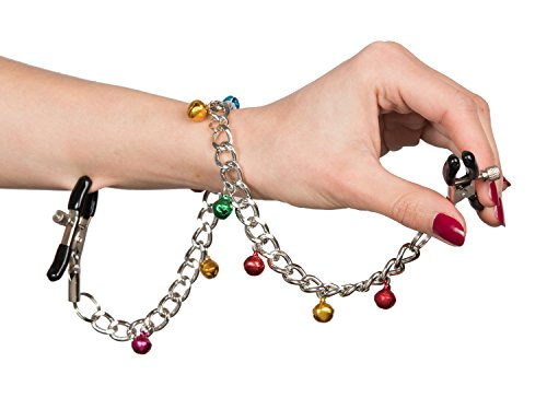 Deluxe Nippelklemmen Klangspiel, verstellbare Brustwarzenklemmen mit Glöckchen aus hochwertigem Metall, nickelfrei