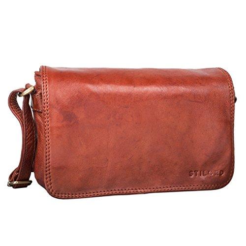 STILORD 'Leana' Damen Umhängetasche Leder klein Vintage Handtasche viele Fächer elegante Ausgehtasche Vintage Echtleder, Farbe:cognac - braun cognac - used