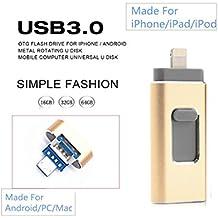 FeliSun Nuevo diseño de 32 GB USB i-Flash Drive Memory Stick adaptador de lector de tarjetas con tres interfaces [Lightning, USB3.0 y Micro USB] Para iPhone iPad iPod Android Celulares Tablets PC Macbook