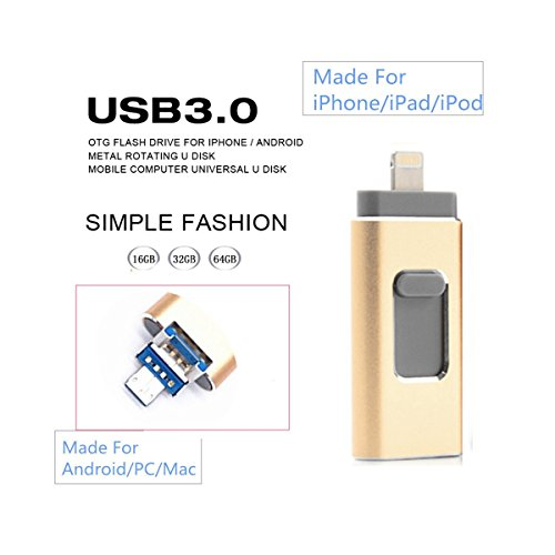 Felisun nuovo design 64gb usb i-flash drive chiavetta usb memory stick card reader adapter adattatore per lettore di schede with tre interfaces [ lightning, usb3.0 and micro usb] for iphone ipad ipod android cellphones tablets pc macbook