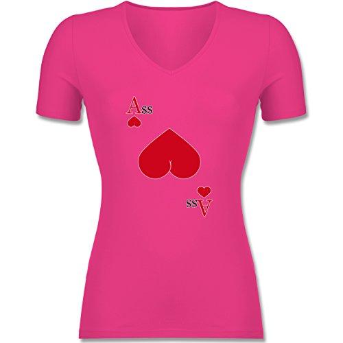 erz Ass - L - Fuchsia - F281N - Tailliertes T-Shirt mit V-Ausschnitt für Frauen (Casino Passt)