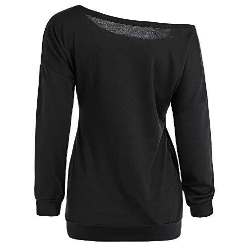 iYmitz Neu Damen Pullover für Halloween Schulterfrei Langarm Print Sweatshirt 3D Drucken Streetwear Tops Frauen Blouse Freizeit Shirt(Schwarz,EU-42/CN-XL)