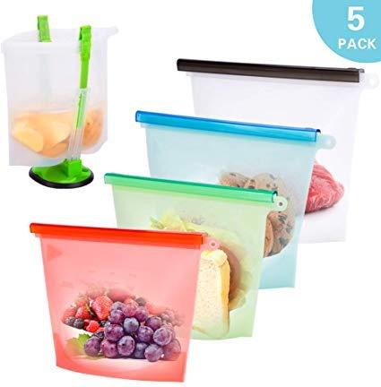 Suchdeco Lebensmittel Beutel Küche Beutel Koch Beutel Wiederverwendbare aus Silikon mit Baggy Rack für Obst Gemüse Milch Snacks Fleisch (5 Packungen)